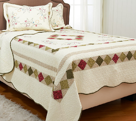 Montgomery Reversible TW 100% Cotton Quilt Set with Sham
