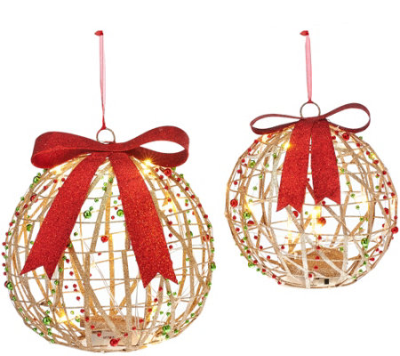 Dennis Basso Set of 2 Lit Glittered Spheres or Presents
