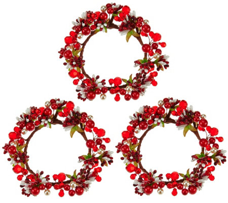Set of 3 Holiday Berry Candle Rings by Valerie