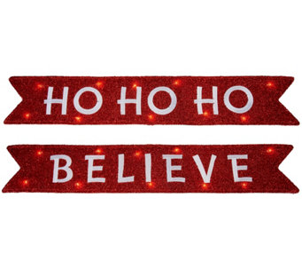 Kringle Express Set of 2 Illuminated 3' Holiday Banner - H209395