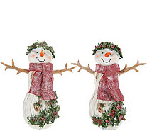 Set of 2 Angels or Snowmen with Holly Detail by Valerie - H209595