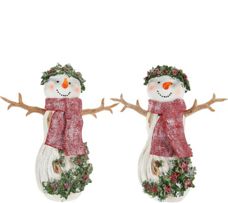 Set of 2 Angels or Snowmen with Holly Detail by Valerie