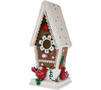 """As Is"" Illuminated Gingerbread Birdhouse by Valerie - H210495"