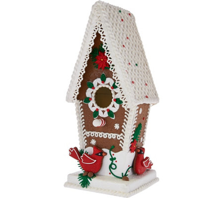 """As Is"" Illuminated Gingerbread Birdhouse by Valerie"