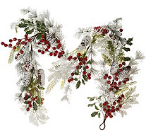 """As Is"" 5' Flocked Garland with Red Berries & Cones by Valerie - H211295"