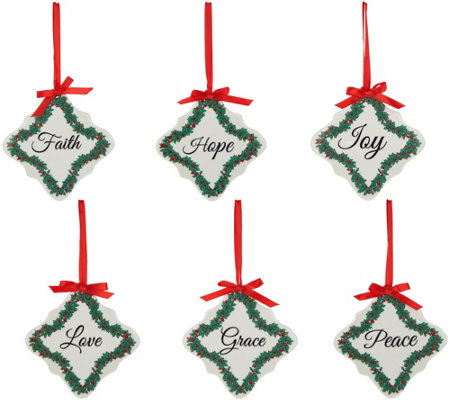 Set of 6 Inspirational Porcelain Ornaments by Valerie