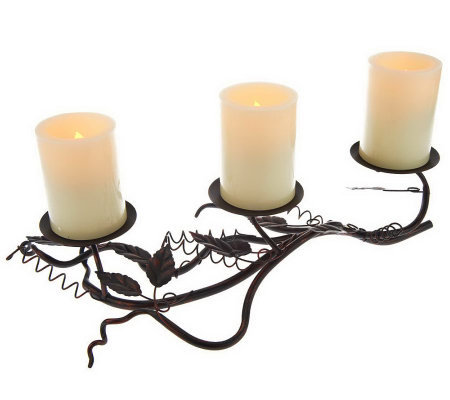 Home Reflections Vine Candelabra w/ 3 FlamelessCandles