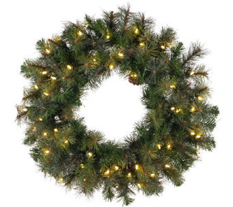 "42"" Prelit Modesto Pine Wreath w/ LED Lights byVickerman - H287695"