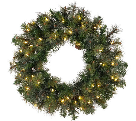 "42"" Prelit Modesto Pine Wreath w/ LED Lights byVickerman"