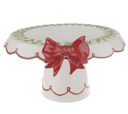 Country Living Ceramic Footed Cake Plate and Server Set