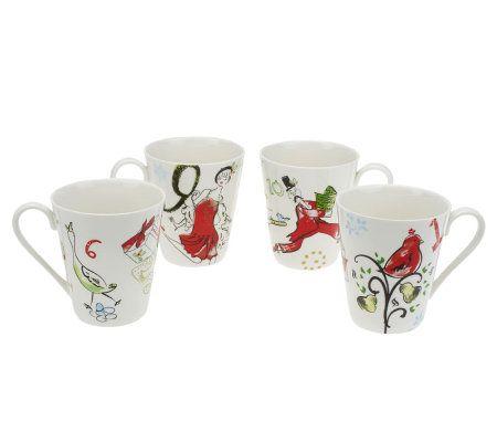 Lenox Set of 4 12 days of Christmas Mugs - Page 1 — QVC.com