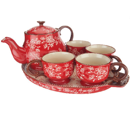Temp-tations Floral Lace 6-pc Tea Set w/Deep Dish Lid It