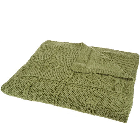 Kilronan Merino Wool Cross Patch Throw Blanket