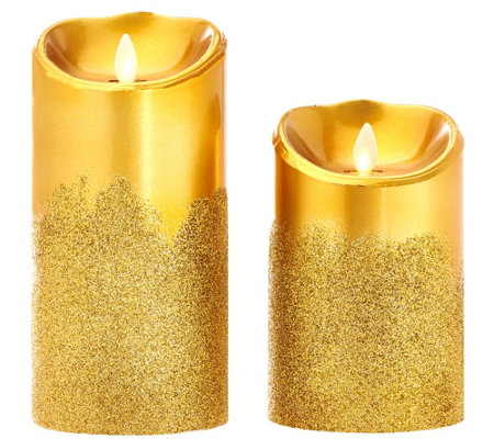 "Luminara Set of 2 5"" & 7"" Glitter Fade Flameless Candles w/Timer"