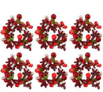 Set of 6 Holiday Berry Napkin Rings by Valerie - H206996