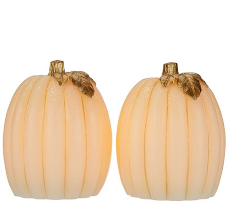 Set of 2 Lit Pumpkins or Gourds by Candle Impressions