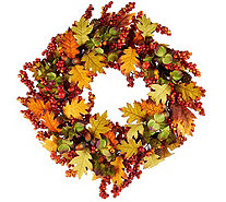 "19"" Leaves, Berry and Hydrangea Wreath - H209396"