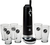 """As Is"" Fizzics Beer to Draft Pouring System with 6 Glasses by Lori Greiner - H212696"