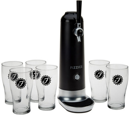 """As Is"" Fizzics Beer to Draft Pouring System with 6 Glasses by Lori Greiner"