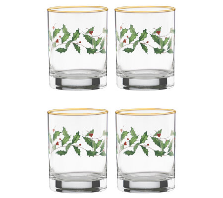 Lenox Holiday Set of 4 Glass Tumblers