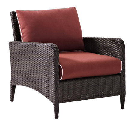 Crosley Kiawah Outdoor Wicker Arm Chair with Sangria Cushions