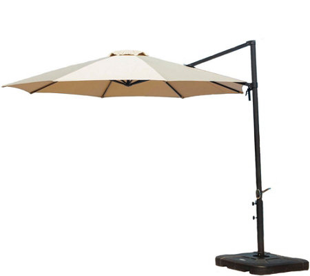 Cambridge Tan Cantilever Umbrella with Base