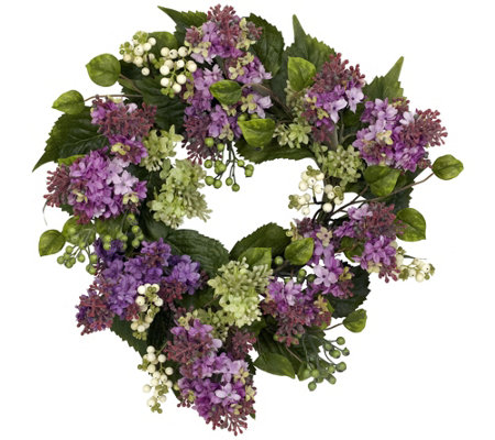 "20"" Hanel Lilac Wreath by Nearly Natural"