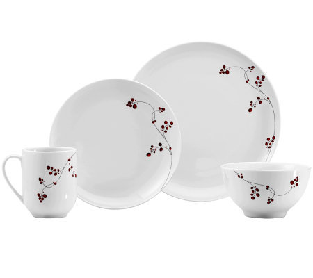 Mikasa Gourmet Basics Red Berries 16-Piece Dinnerware Set