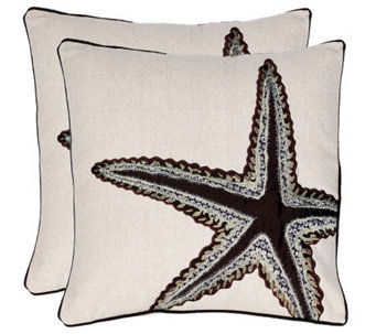 "Set of 2 18"" x 18"" Lucky Star Pillows from Safavieh - H365796"