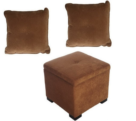 bombay microfiber ottoman and set of 2 matchingpillows page 1. Black Bedroom Furniture Sets. Home Design Ideas