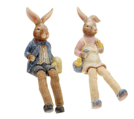 Set of 2 Sugared Bunny Shelf Sitters by Valerie
