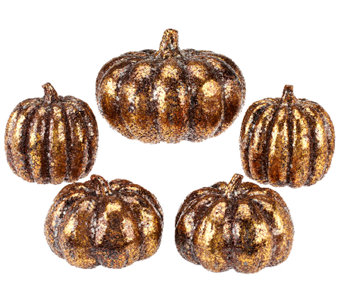 5-Piece Glitter Pumpkins by Valerie - H203597