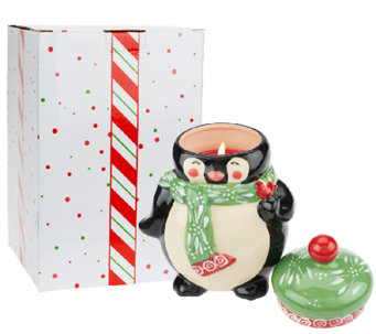 """As Is"" Temp-tations 23 oz. Ceramic Holiday Figural Candle - H204497"