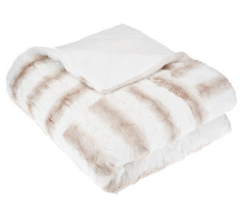 "Dennis Basso 50"" x 60"" Reversible Faux Fur Patchwork Throw - H205797"