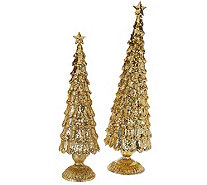 "2-Piece Unlit 13"" and 16"" Elegant Sparkling Trees - H206397"