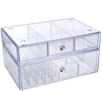 """As Is"" Set of 2 Clear Stacking Cosmetic Organizers - H208297"