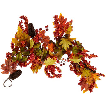 4' Leaves, Berry and Hydrangea Garland - H209397