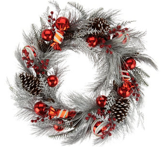 "Frosted 22"" Peppermint Candies and Ornament Wreath - H209597"