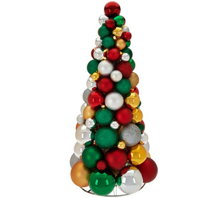 """As Is"" 16"" Illuminated Ornament Tabletop Tree by Valerie"