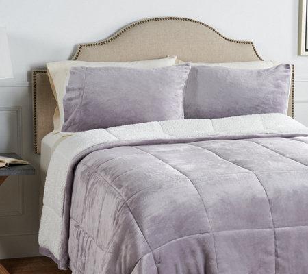 Berkshire Velvet Soft Reverse To Sherpa Comforter Set