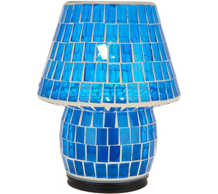 """As Is"" 8"" Illuminated Indoor/Outdoor Colored Tile Mosaic Lamp"