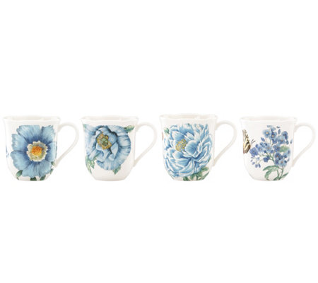 Lenox Butterfly Meadow Blue Set of 4 Mugs