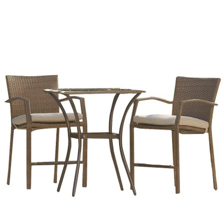 Cosco Lakewood Ranch 3-Piece Steel Woven Balcony Bistro Set
