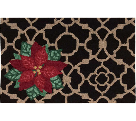 "Waverly 21"" x 33"" Black Christmas Poinsettia Rug by Nourison"