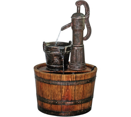 Design Toscano Cistern Well Pump Barrel GardenFountain