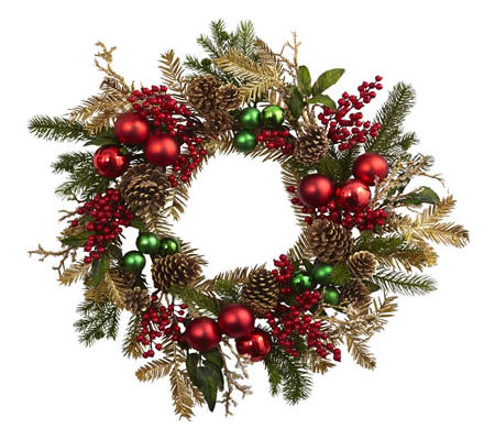"24"" Ornament, Pine, & Pinecone Wreath by NearlyNatural"