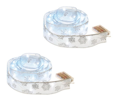 Kringle Express Set of 2 Ribbons with LED Lights and Timers
