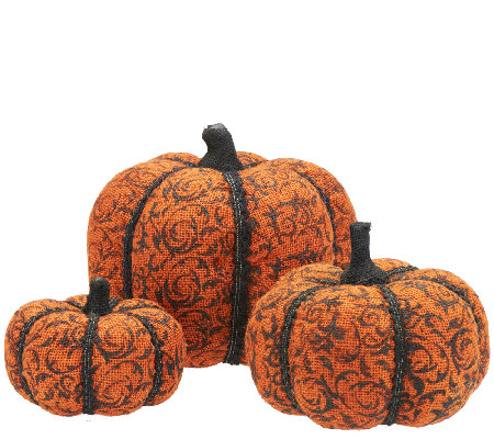 3-Piece Toile Burlap Pumpkins by Valerie