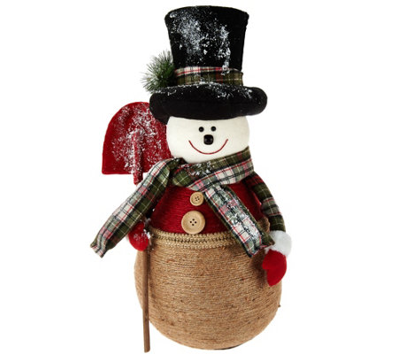 Oversized Snowman with Hat and Scarf by Valerie