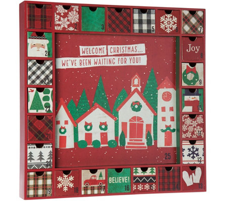 "Hallmark 16""x16"" Wooden Holiday Advent Calendar with Drawers"